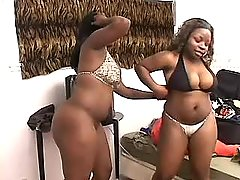 Two gorgeous black lesbians enjoy on sofa