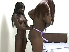 Busty chick caresses pussy on floor ebony lesbian sex
